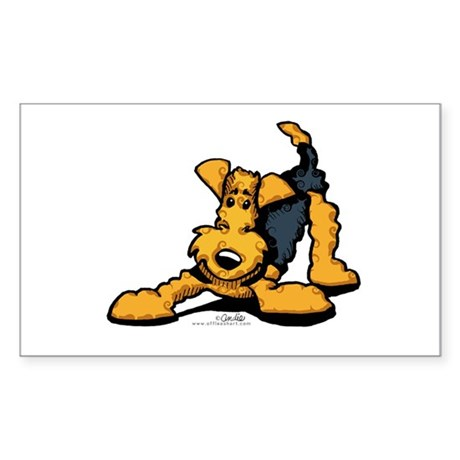 Airedale at Play Sticker (Rectangle)