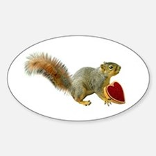 Squirrel with Candy Box Sticker (Oval)