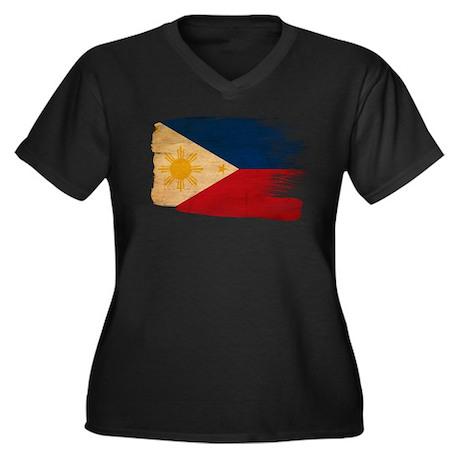 Philippines Flag Women's Plus Size V-Neck Dark T-S