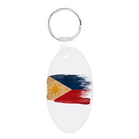 Philippines Flag Aluminum Oval Keychain