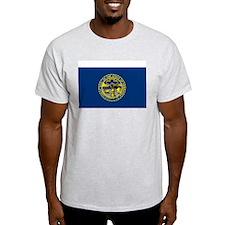 Nebraska State Flag Grey T-Shirt