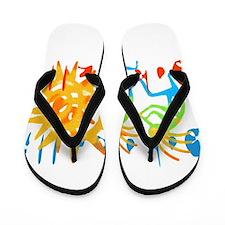 Colorful Kokopelli Flip Flops