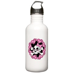 Cute Skull and Hearts Water Bottle