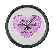 Girl Glitter Large Wall Clock