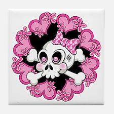 Cute Skull and Hearts Tile Coaster