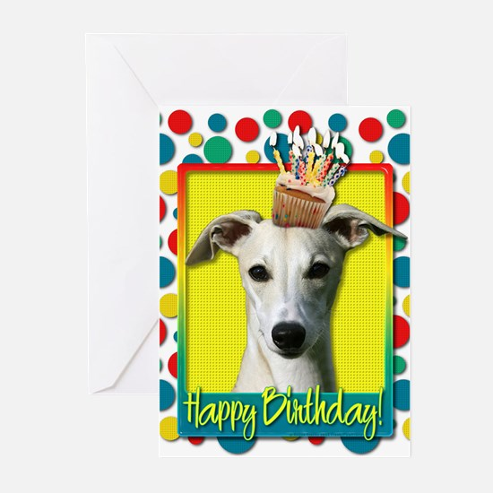 Birthday Cupcake - Whippet Greeting Cards (Pk of 2