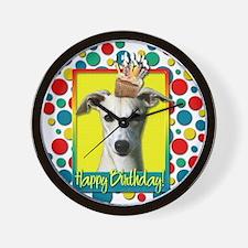 Birthday Cupcake - Whippet Wall Clock
