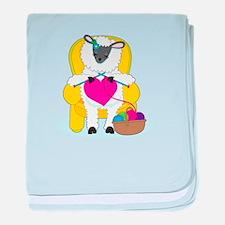 Sheep Knitting Heart baby blanket