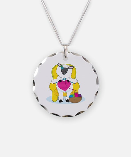Sheep Knitting Heart Necklace