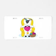 Sheep Knitting Heart Aluminum License Plate