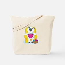 Sheep Knitting Heart Tote Bag
