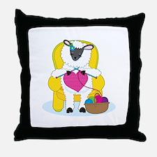 Sheep Knitting Heart Throw Pillow