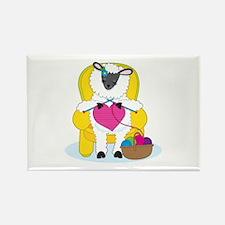 Sheep Knitting Heart Rectangle Magnet