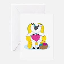 Sheep Knitting Heart Greeting Cards (Pk of 10)