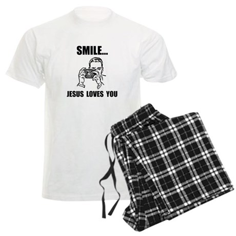 Smile Jesus Loves You Men's Light Pajamas
