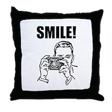 Vintage Camera Smile Throw Pillow