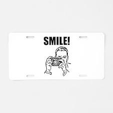 Vintage Camera Smile Aluminum License Plate