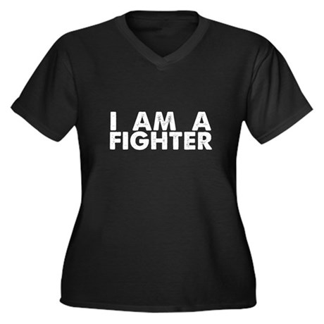 I Am A Fighter Women's Plus Size V-Neck Dark T-Shi