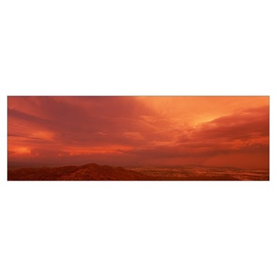 Thunderstorm at Sunset South Mountain Park Phoenix Poster