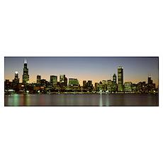 Skyline at dusk Chicago IL Poster