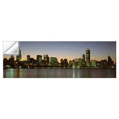 Skyline at dusk Chicago IL Wall Decal