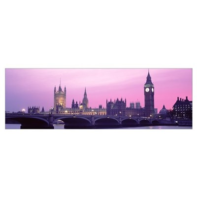 Houses of Parliament Westminster Bridge and Big Be Poster