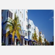 Palm trees in front of buildings, Art Deco Hotel,
