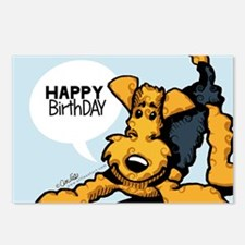 Airedale at Play Funny Birthday Postcards (Package