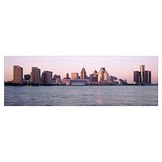 Skyline Detroit MI Poster