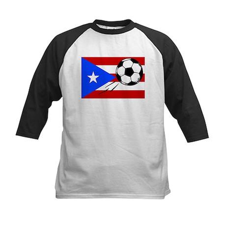 Puerto Rico Flag, Soccer Kids Baseball Jersey