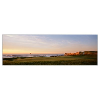 Golf course on the coast, Half Moon Bay, Californi Poster