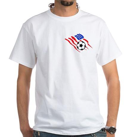 American Flag, Soccer White T-Shirt