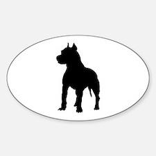 Pit Bull Terrier Silhouette Sticker (Oval)