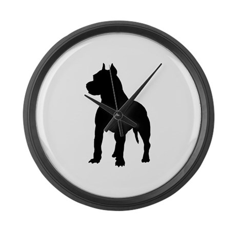 Pit Bull Terrier Silhouette Large Wall Clock