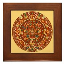 Mexico Aztec Sun Calendar Framed Art Tile