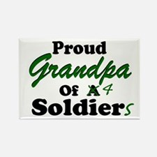Proud Grandpa 4 Soldiers Rectangle Magnet