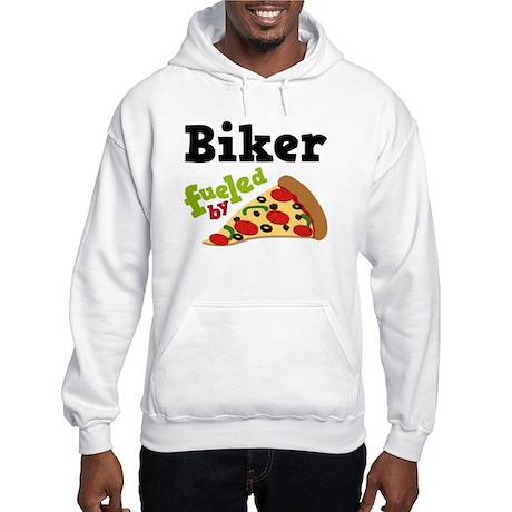 Biker Funny Pizza Hooded Sweatshirt