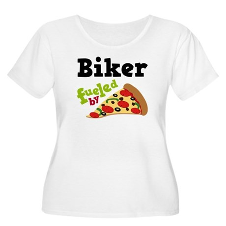 Biker Funny Pizza Women's Plus Size Scoop Neck T-S