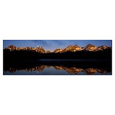 Reflection of mountains on water, Sawtooth Mountai Poster