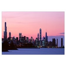 Silhouette of buildings at dusk, Chicago, Illinois
