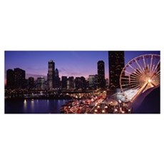 Lit up Ferris wheel at dusk, Navy Pier, Chicago, I Poster