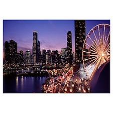 Lit up Ferris wheel at dusk, Navy Pier, Chicago, I