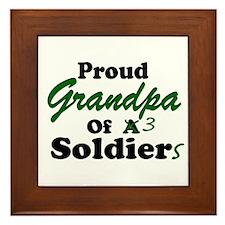 Proud Grandpa 3 Soldiers Framed Tile