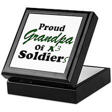 Proud Grandpa 3 Soldiers Keepsake Box