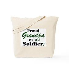 Proud Grandpa 3 Soldiers Tote Bag