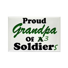 Proud Grandpa 3 Soldiers Rectangle Magnet
