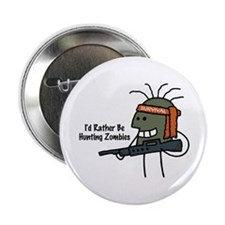 """Hunting Zombies Guy 2.25"""" Button"""
