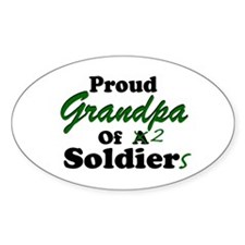 Proud Grandpa 2 Soldiers Oval Decal