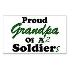 Proud Grandpa 2 Soldiers Rectangle Decal