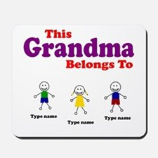 Personalized Grandma 3 kids Mousepad
